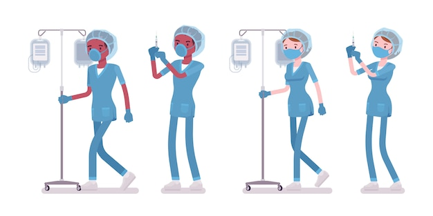 Enfermeira masculina, feminina, fazendo procedimento médico com conta-gotas. jovens trabalhadores em uniforme de hospital de plantão na clínica. medicina, saúde. estilo cartoon ilustração, fundo branco