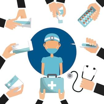 Enfermeira médica e mãos segurando um equipamento de medicina