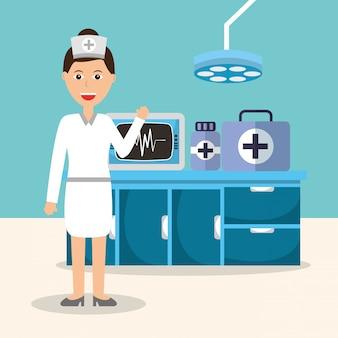 Enfermeira monitorando máquina medicina farmácia