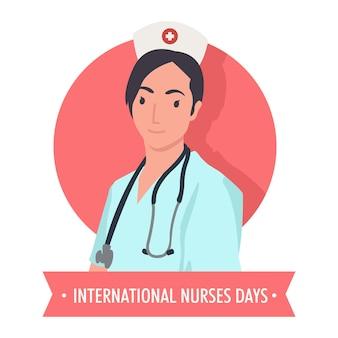 Enfermeira muito bonita em comemoração ao dia internacional das enfermeiras