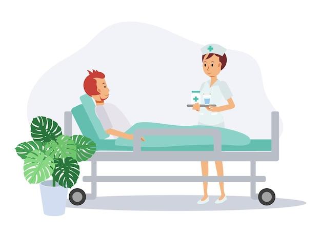 Enfermeira no quarto do paciente com remédio para o paciente, hora do remédio. conceito de hospital, doença e tratamento. ilustração de personagem de desenho animado em vetor plano.