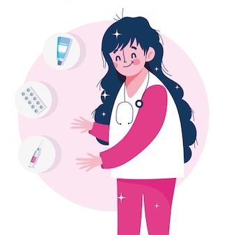 Enfermeira pessoal cápsula seringa e creme ilustração médica de vacinação de cuidados de saúde