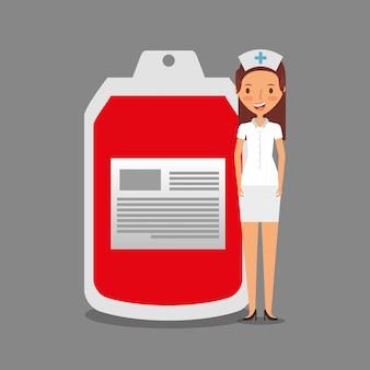 Enfermeira pessoal médica com sangue de bolsa