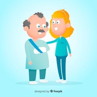 Enfermeira plana, ajudando o fundo do paciente