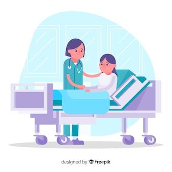 Enfermeira plana ajudando paciente