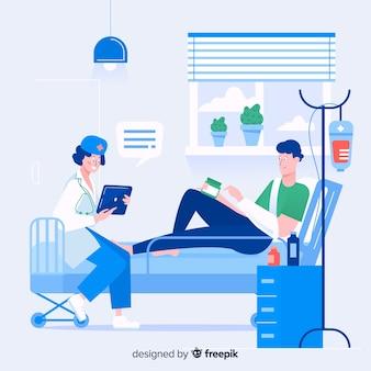Enfermeira plana com paciente