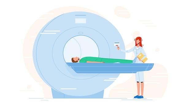 Enfermeira que prepara o paciente para o teste de mri scan