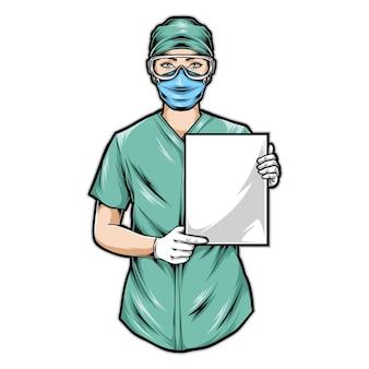 Enfermeira segurando papel em branco