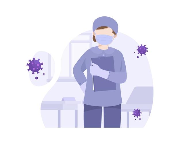Enfermeira trabalha em hospital tratando coronavírus