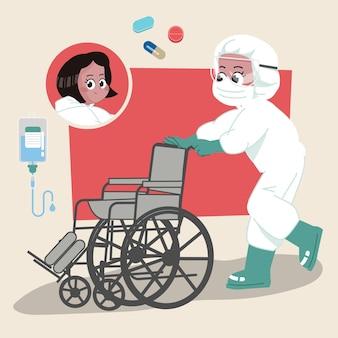 Enfermeira usando personagem 2d de materiais perigosos, pronta para animação completa com ferramentas de trabalho