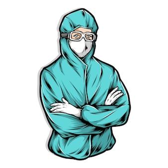 Enfermeira vestindo uniforme hazmat