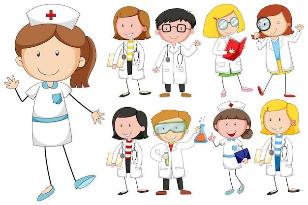 Enfermeiras e médicos no fundo branco