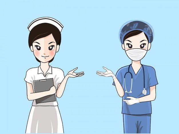 Enfermeiras em uniforme formal e vestidos cirúrgicos.