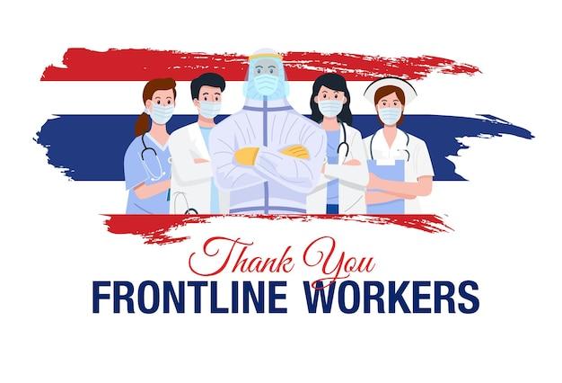 Enfermeiras usando máscaras e bonés protetores com bandeira da tailândia.