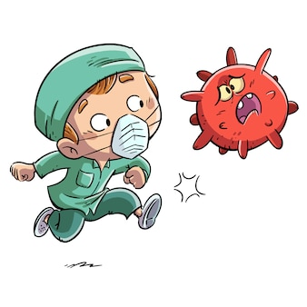 Enfermeiro chutando um vírus