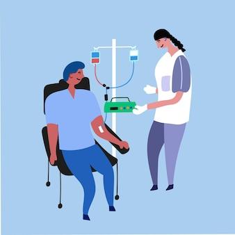Enfermeiro médico paciente de transfusão de sangue quimioterapia