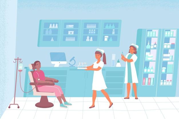 Enfermeiros no laboratório com um paciente sentados em uma cadeira