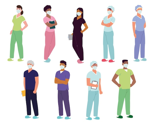 Enfermeiros pessoal de saúde masculino feminino