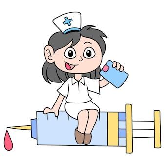 Enfermeiros promovem cuidados hospitalares e vacinas de saúde, arte de ilustração vetorial. imagem de ícone do doodle kawaii.