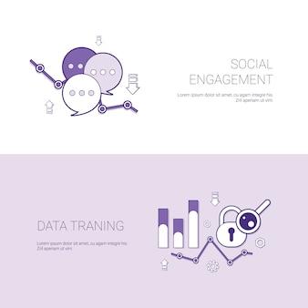 Engajamento social e banner de web de modelo de treinamento de dados com espaço de cópia
