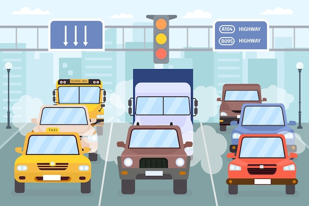 Engarrafamento. carros na estrada da cidade fumaça, poluição atmosférica e gases de escape. rodovia urbana de veículos, táxis, caminhões e ônibus. conceito de vetor de poluição do ar. ilustração de rua de tráfego, viagem pela cidade, congestionamento de automóveis