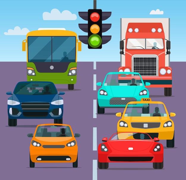 Engarrafamento de carros diferentes. ilustração vetorial