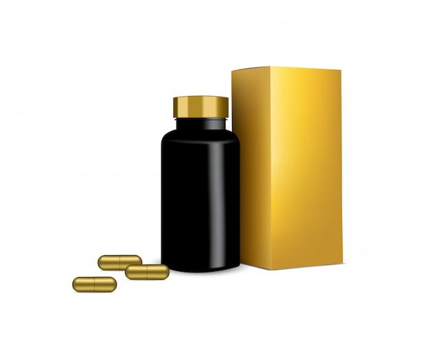Engarrafe o painel realístico da cápsula da medicina do comprimido e da caixa do ouro na ilustração branca. comprimidos de medicina e saúde.
