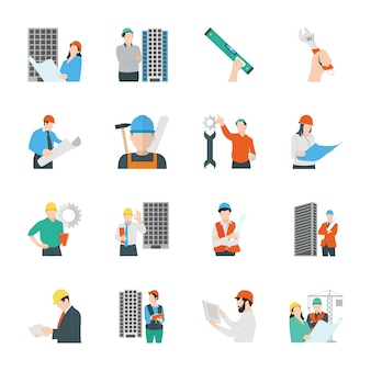 Engenharia civil e construção de ícones plana