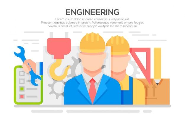 Engenharia conceito plana