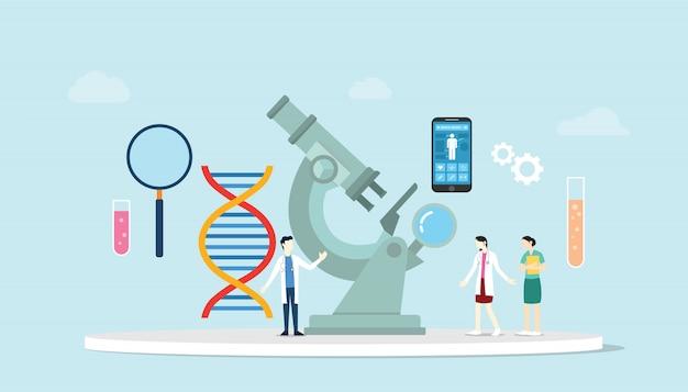 Engenharia de saúde de ciência genética com microscópio e pesquisa em equipe de laboratório com cromossomo dna com estilo moderno e plano.