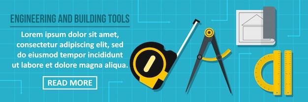 Engenharia e construção de ferramentas banner conceito horizontal de modelo