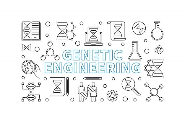 Engenharia genética delinear banner horizontal.