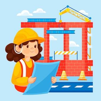 Engenharia plana e construção ilustrada