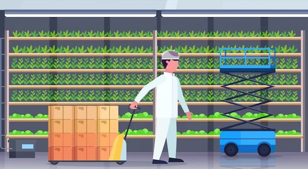 Engenheiro agrícola de homem em uniforme carregando caminhão de pálete com caixas de papelão moderno verde vertical fazenda interior plantas verdes crescente conceito de indústria agrícola