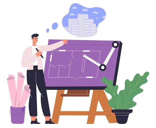 Engenheiro arquiteto profissional trabalhando no projeto arquitetônico. arquiteto ocupacional masculino desenho ilustração vetorial de plantas. espaço de escritório de arquiteto de homem. engenharia de construção profissional