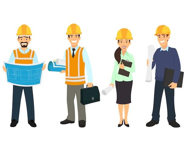 Engenheiro civil, arquiteto e trabalhadores da construção civil