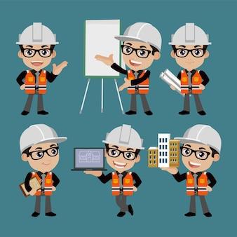 Engenheiro civil com diferentes poses Vetor Premium