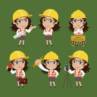 Engenheiro civil com diferentes poses