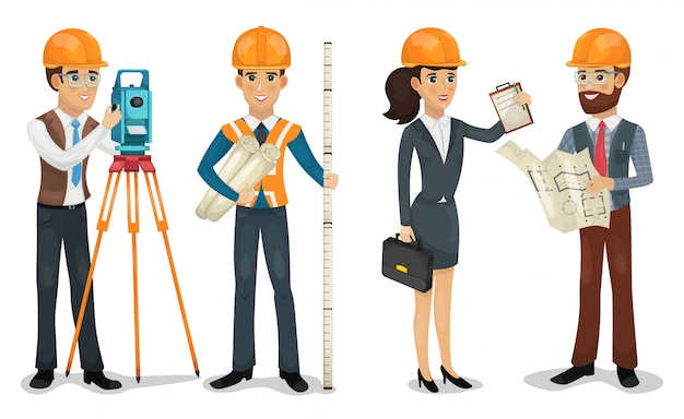 Engenheiro civil, topógrafo, arquiteto e trabalhadores da construção civil isolados.