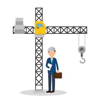 Engenheiro com ícones em construção