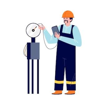 Engenheiro da indústria petrolífera verifica a ilustração vetorial de leituras de instrumentos isolada