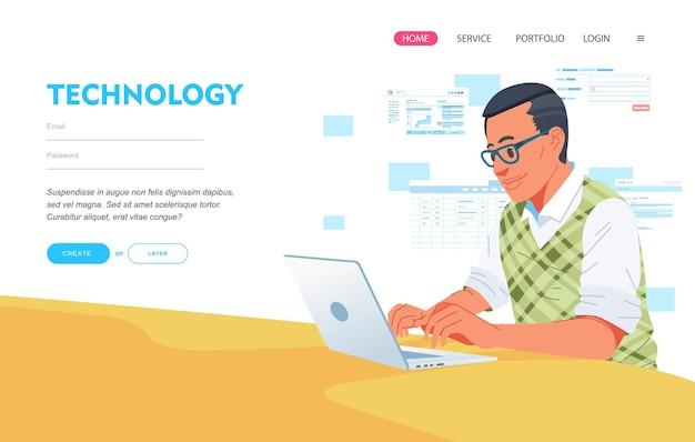 Engenheiro da web programando sites na página de destino de laptop