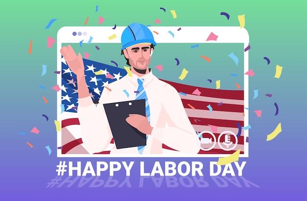 Engenheiro de capacete com celebração do dia do trabalho da bandeira dos eua
