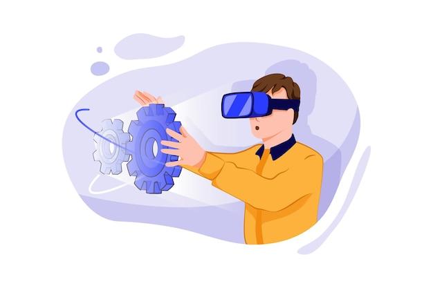 Engenheiro de ciência da computação usando fone de ouvido de realidade virtual funciona com modelo 3d
