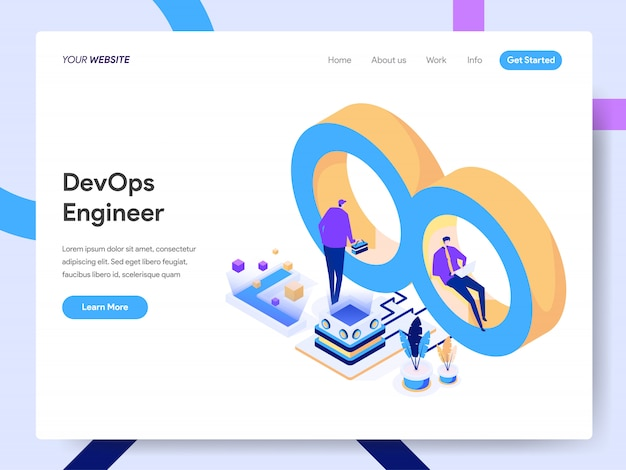 Engenheiro de desenvolvimento e operações ilustração isométrica para página do site
