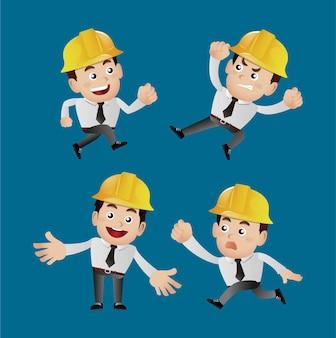 Engenheiro de profissão definido com diferentes poses