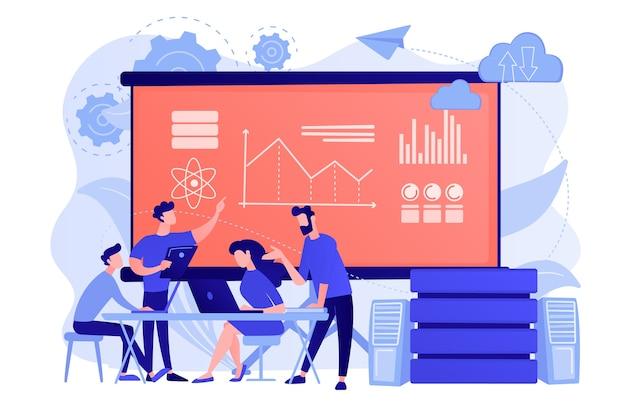 Engenheiro de software, estatístico, visualizador e analista trabalhando em um projeto. conferência de big data, apresentação de big data, conceito de ciência de dados