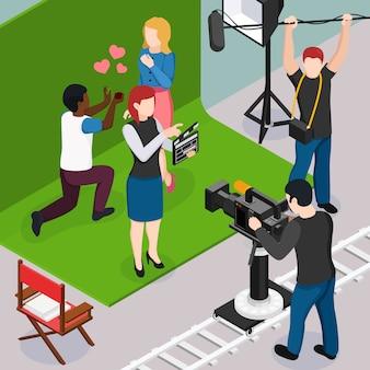 Engenheiro de som de operador de atores e assistente de diretor durante a composição isométrica de filme romântico