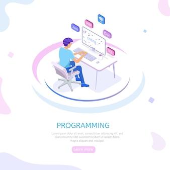 Engenheiro de web banner de programação no trabalho.