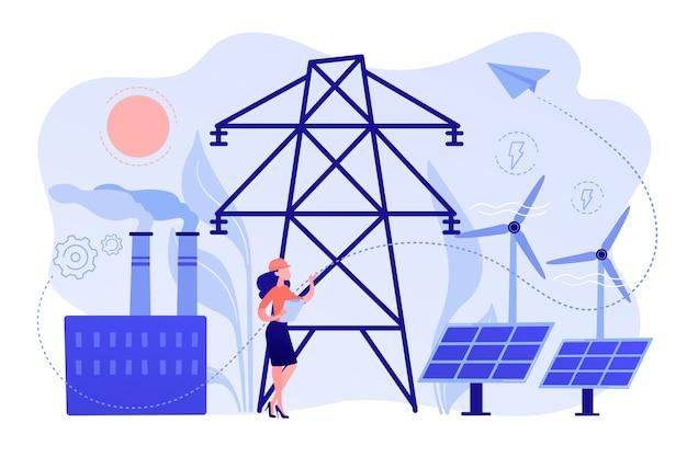 Engenheiro escolhendo estação de energia com painéis solares e turbinas eólicas